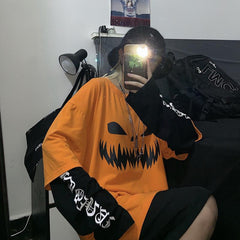 PUMPKIN FACE FAKE TWO-PIECE LONG SLEEVE T-SHIRT