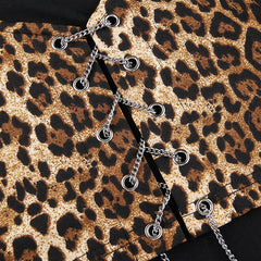 LEOPARD LACE UP TURTLENECK TOP