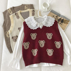 BEAR CARTOON V-NECK KNIT VEST