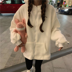 RABBIT EARS FURRY ZIPPER CARDIGAN JACKET