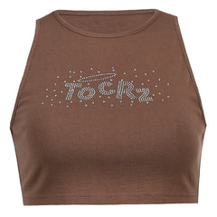 RHINESTONE LETTERS SLEEVELESS TOP