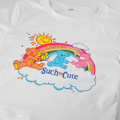 CUTE RAINBOW BEAR PRINT CROP TOP