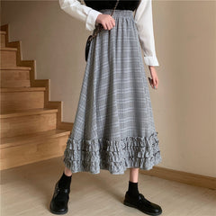 PLAID PLEATED MIDI CAKE SKIRT
