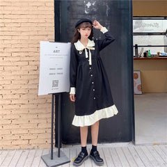KOREAN DOLL COLLAR CONTRAST DRESS