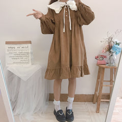 LOLITA NAVY COLLAR PUFF SLEEVE CORDUROY DRESS