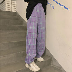 GREY AND PURPLE CHECKED STRAIGHT PANTS