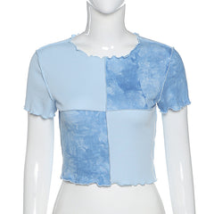 PATCHWORK GRID CROP TOP