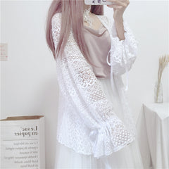 HOLLOW LACE CARDIGAN TOP