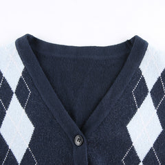 DIAMOND CONTRAST V-NECK KNIT CARDIGAN