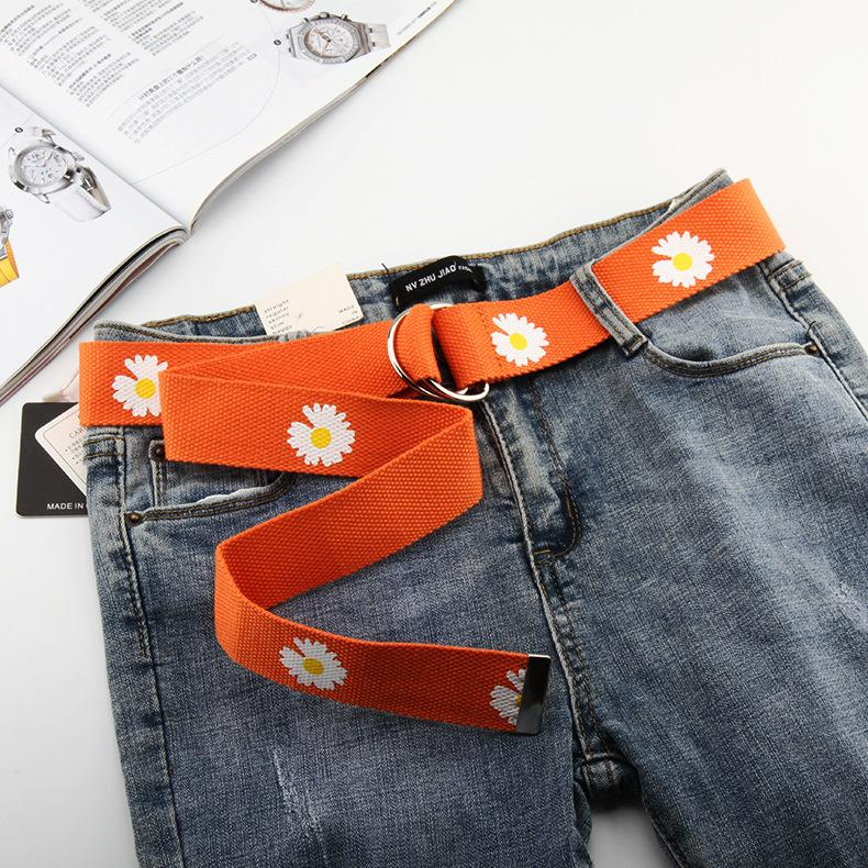 CANDY COLORED NOTCHED DAISY PRINT CANVAS BELT