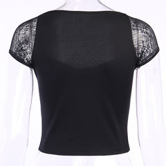 LACE SLEEVE STITCHING SQUARE COLLAR CROP TOP