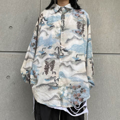 WONDERLAND PRINT LONG SLEEVE SHIRT