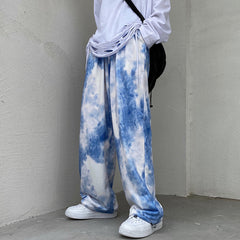BLUE AND WHITE TIE DYE DRAWSTRING TROUSERS