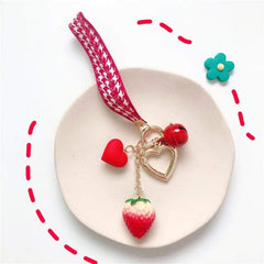 HEART RIBBON STRAWBERRY KEYCHAIN