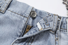 HOLLOW CHAIN JEANS