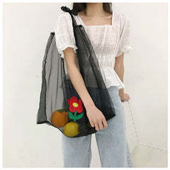 FASHION EMBROIDERY TRANSPARENT BAG