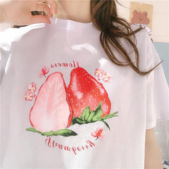 STRAWBERRY FLOWER PRINT TEE