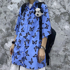 BUTTERFLY FULL PRINT SHORT SLEEVE SHIRT