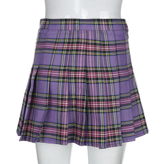 SEXY PLAID PLEATED SKIRT