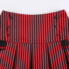 PUNK CONTRAST STRIPED PLEATED SKIRT