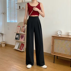SOLID COLOR HIGH WAIST SUIT TROUSERS
