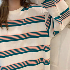 KOREAN STRIPED LONG SLEEVE T-SHIRT