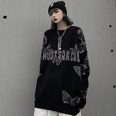 DARK BUTTERFLY PULLOVER SWEATER