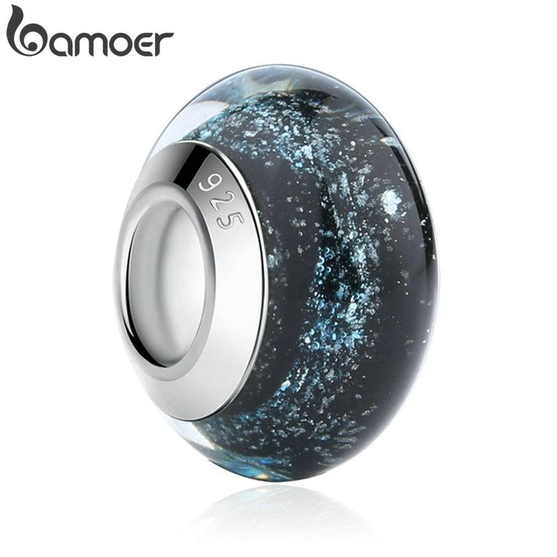 BAMOER 1 pc Hotsale Silver Color Black European Murano Glass Beads fit Bracelet & Necklace Fashion Jewelry Wholesale PA6369