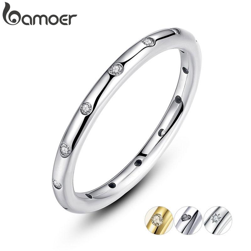 BAMOER 2 Colors 925 Sterling Silver Droplets Stackable Finger Classic Ring for Women Wedding Jewelry Valentine's Day Gift PA7132