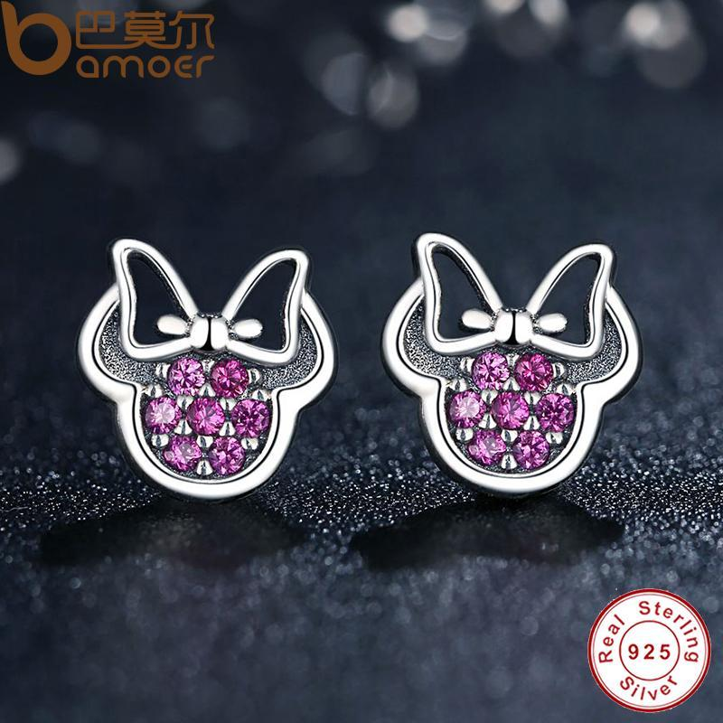 BAMOER Presents 925 Sterling Silver Red  Shape Sparkling Minnie Fashion Jewelry Special Store PAS414