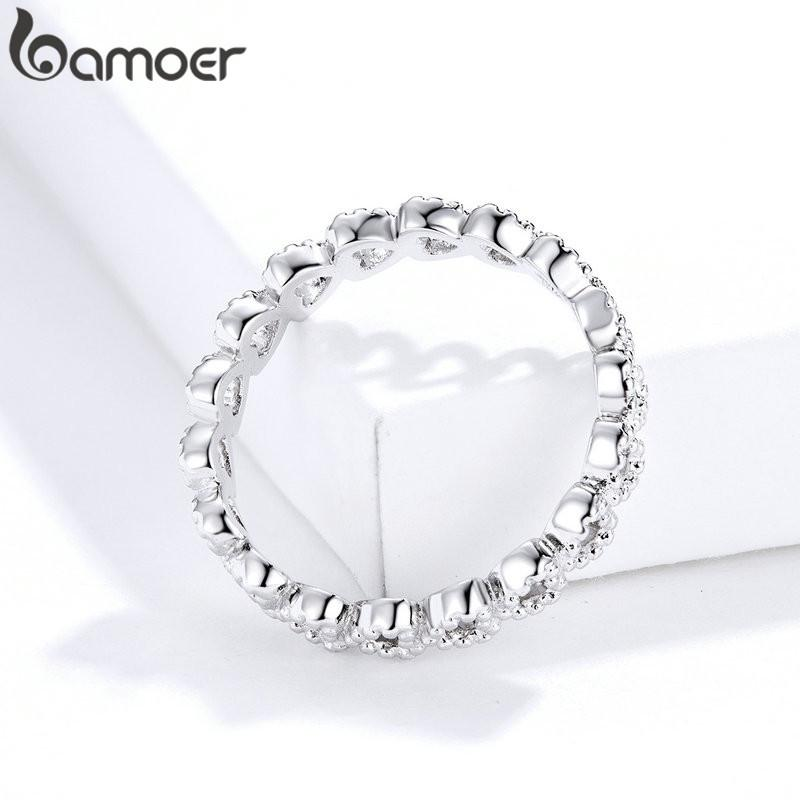 BAMOER Romantic Silver Color Heart to Heart Ring AAA Zirconia Cheap Rings for Women Wedding Jewelry Dropship PA7223