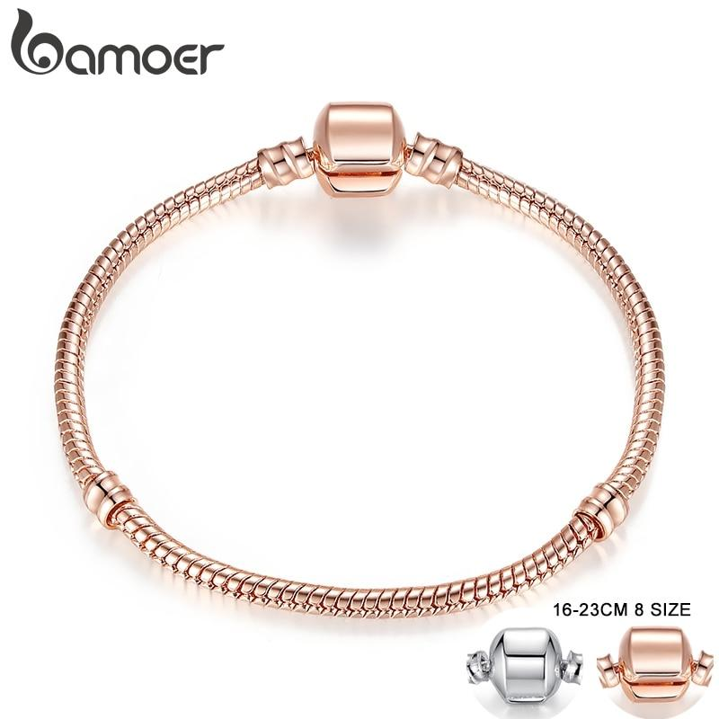 BAMOER Rose Gold Color & Silver Color Snake Chain Bracelets DIY Bracelet Jewelry 16CM-23CM 8 Size Choice PA9007