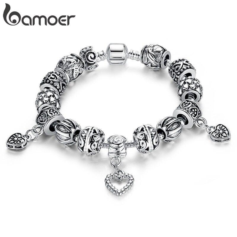 BAMOER Silver Plated Charm Bracelet & Bangle Silver Plated With Heart Pendant for Women Wedding Vintage Jewelry PA1431