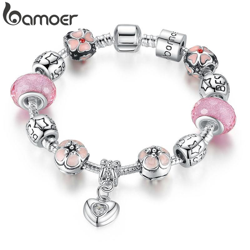 BAMOER Silver Plated Charm Bracelet with Heart Pendant & Cherry Blossom Charm Pink Murano Glass Beads Friendship Bracelet PA1459
