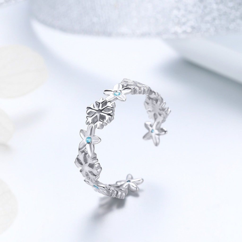 BAMOER Authentic 925 Sterling Silver Winter Snowflake Finger Rings for Women Snowflake Wedding Engagement Ring Jewelry BSR015 | BAMOER