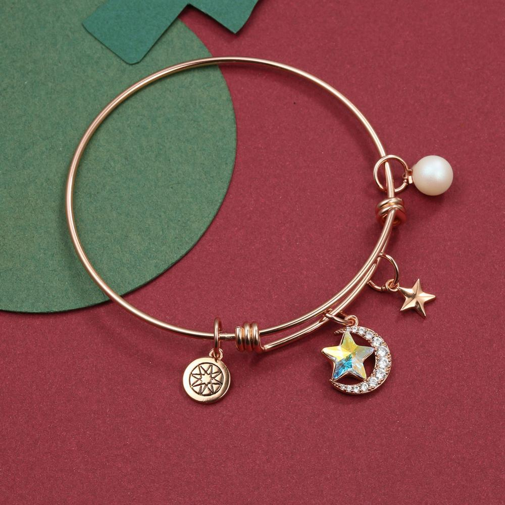 Fashion Women's Bracelets Pearl Star and Moon Series Round Card Pentagram DIY Crystal Female Bracelet