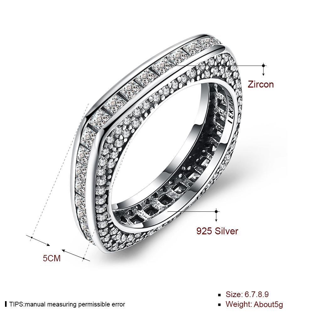 925 Sterling Silver Square Rings Clear CZ Ring for Women Fine Jewelry Gift