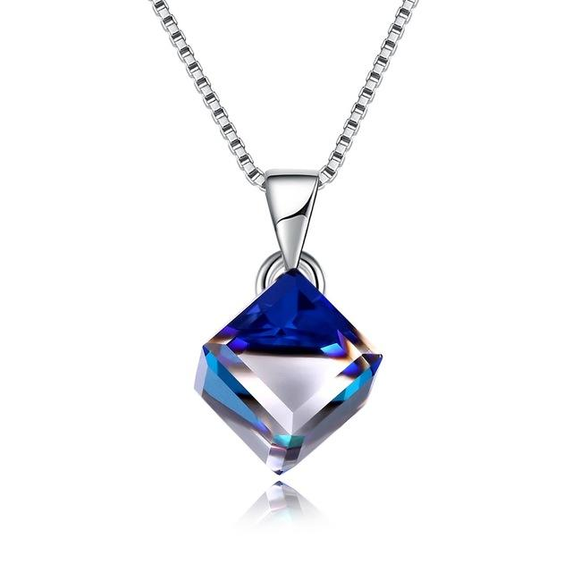 925 Sterling Silver Crystals from Swarovski Rhombus Necklaces Colorful Zircon Pendant Necklaces for Women Lady Gift