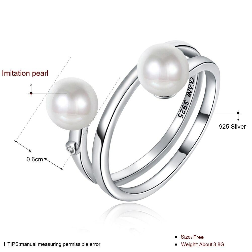 925 Sterling Silver Double Pearl Ring For Women Female Girl Jewelry Sweet Style Double Flat Rings