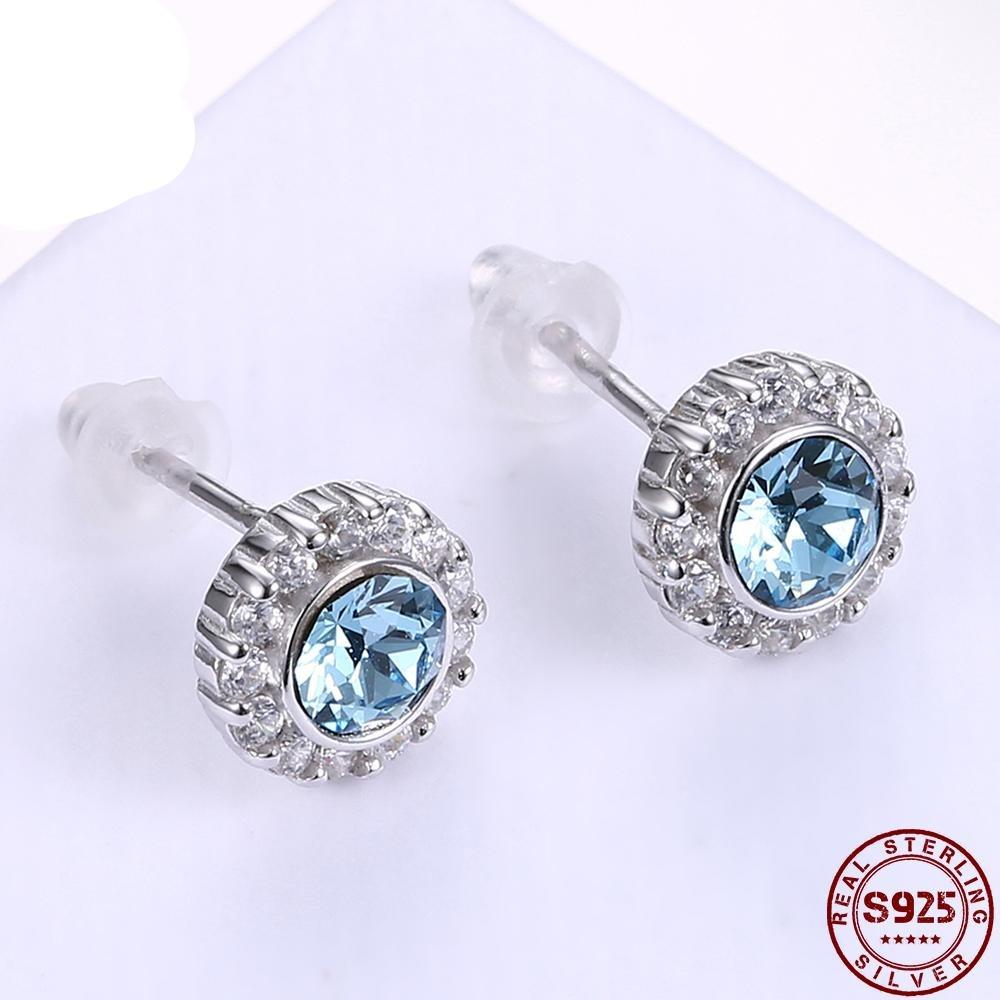 925 Sterling Silver Earrings Sky Blue Round With Zircon Studs For Women Girl Female Jewelry Wedding Gift