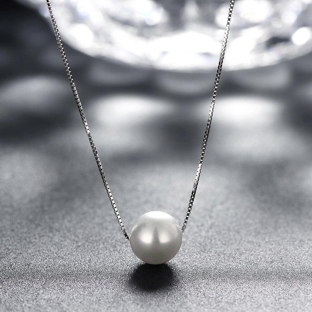 925 Sterling Silver Pearl Necklace Chain White Pearl Pendant Necklaces for Women Girl Female Jewelry Festival Gift