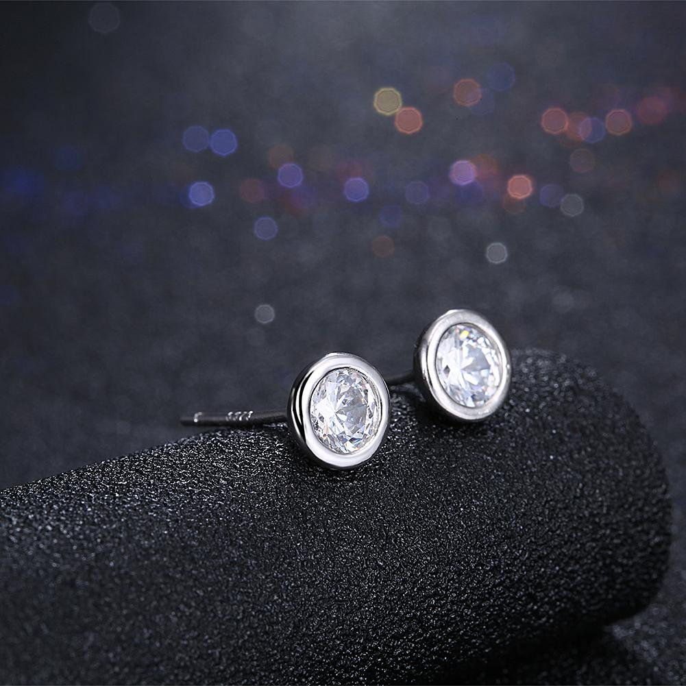 925 Sterling Silver Round Bright Style Zircon Stone Earrings Female for Woman Gift