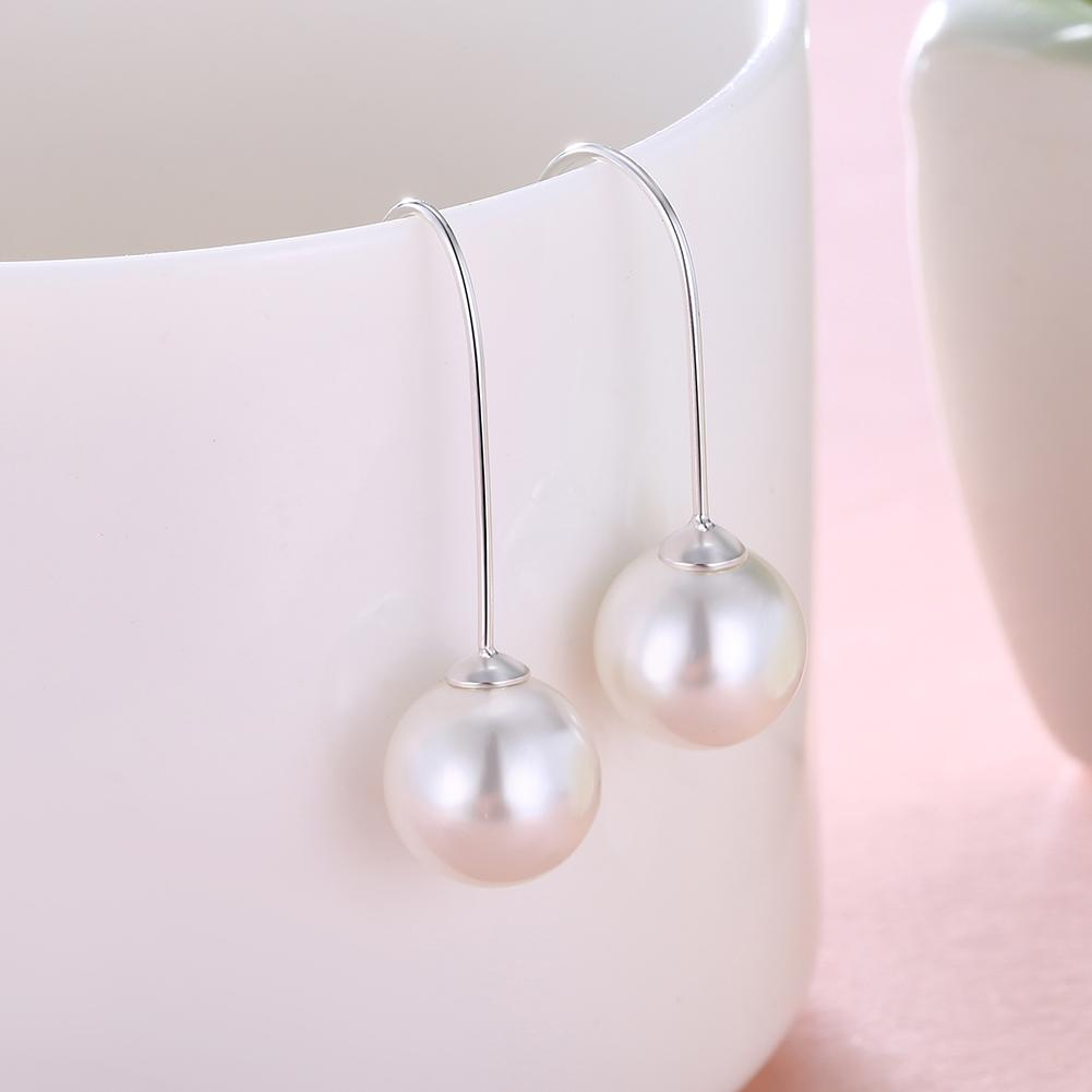 925 sterling Siliver Earrings For Women Female Girl Pearl Simple Style Ear Hook Fashion Creative Jewelry