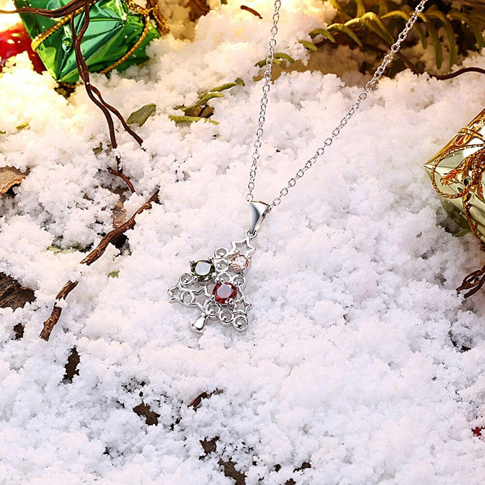 Christmas Series Necklace Christmas Tree Stars Pendant Necklace For Women Girl Female JewelryGift