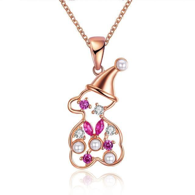 Christmas Series Necklace Snowman Modeling Pendant Necklace For Women Girl Female Jewelry Gift