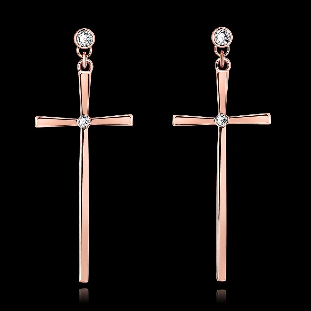 Classic Fashion Cross Stud Earrings Zircon Rose Gold Color Stud Earrings For Women Girl Jewelry