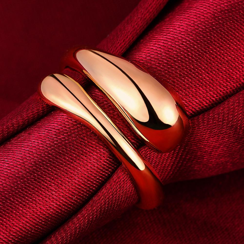 Copper Ring Adjustable Flat Water drops Rings Rose Gold Color Open Finger Rings for Women men Party Jewelry Gifts 2020
