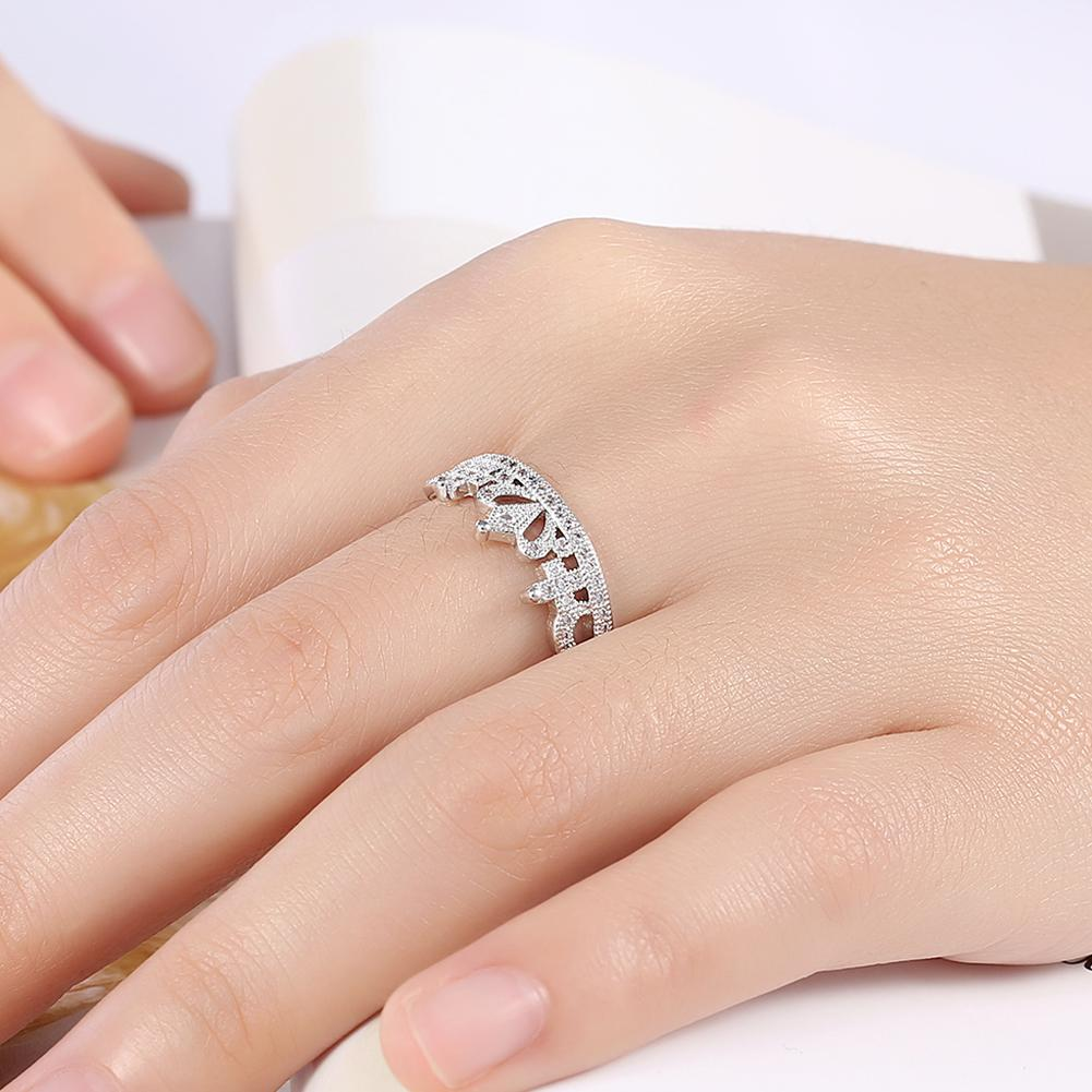 Crown Ring Beautiful Fashion Inlaid Zircon White Gold Color Crown Weeding Ring For Women Female Girl Jewelry