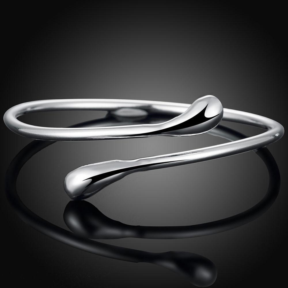 Double Beautiful Round Toe Bracelet Fashion Drop Shape Silver Plated Bangles for Women Jewelry Gifts Bracelets
