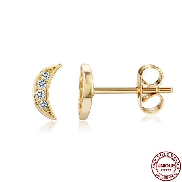 Earrings For Women 2020 Fashion Creative Moon Delicate Zircon Stud Funny Earrings Hot Sale Romantic Engagement Gifts